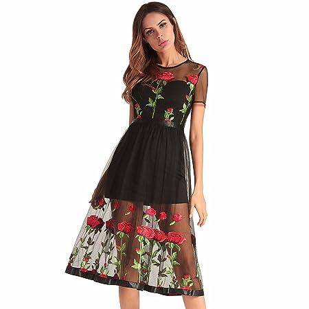 NSSBZZ Mujer Hermosa Rose Bordado Una Falda Negra para M: Amazon ...