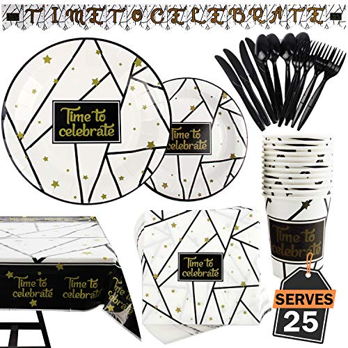 177 Piece Black and Gold Celebration Party Supplies Set Including Banner, Plates, Cups, Napkins, Tablecloth, Spoon, Forks, and Knives, Serves 25]()