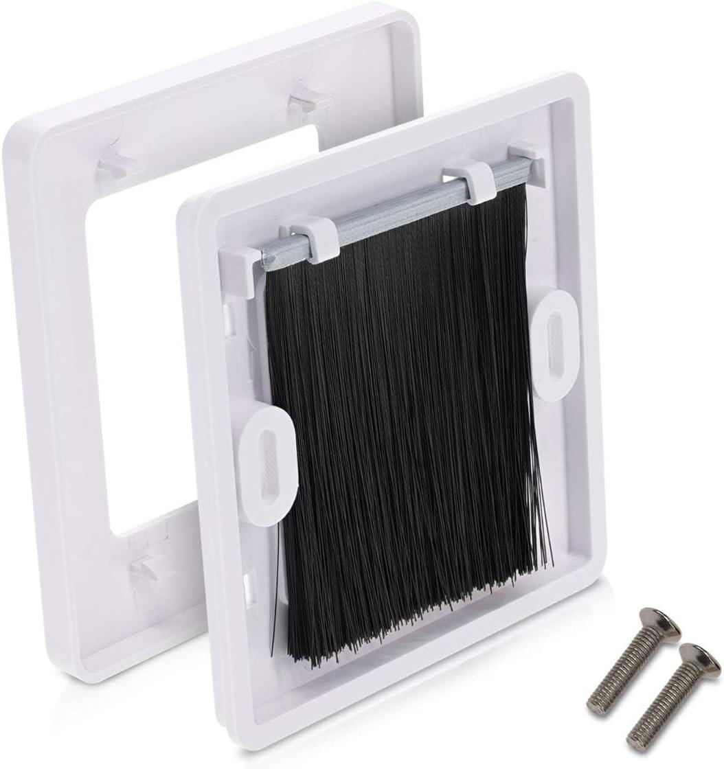 Blanco negro kwmbile Set de 2 placas de pared con cepillo Pasacables para enchufe europeo Juego de 2 cubiertas para tapar salidas hoyos y cables