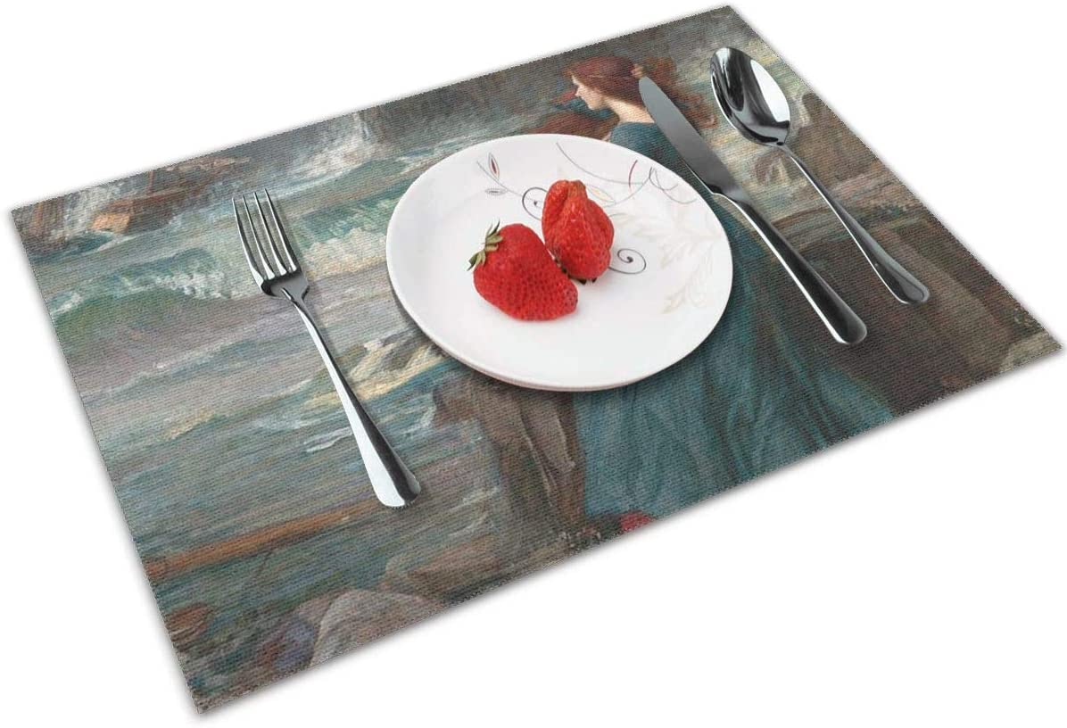 Miranda The Tempest Placemats Set Of 4 For Dining Table Washable Kitchen Table Mats Easy To Clean
