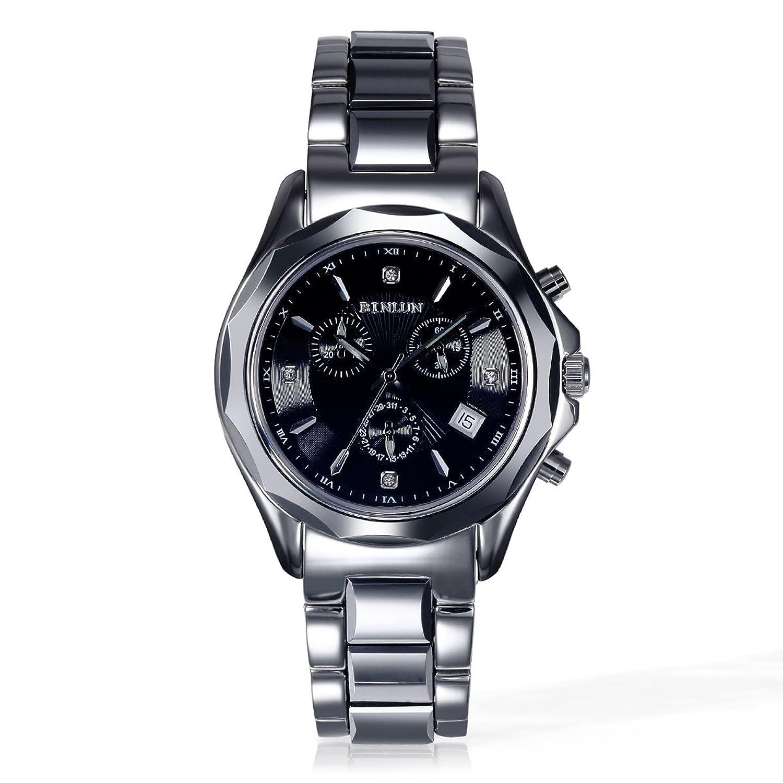 BINLUN Sport Chronograph Herren Uhren Schwarz Weiß Zifferblatt Wolfram Vintage Wasserdichte Quarz Armbanduhr mit