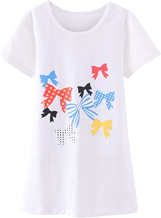 4123e960c7e6 Abalaco Girls Kids Cotton Summer Cartoon Nightgown Sleepwear Dress Pretty  Home Dress 3-12T (