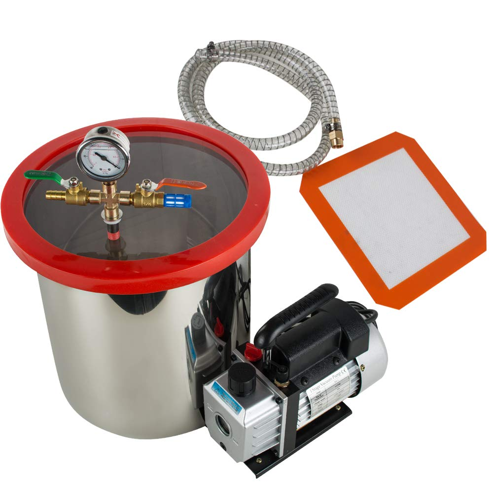 Lab Vacuum Chambers 5 Gallon vinmax Stainless Steel Vacuum Degassing Chamber Silicone Kit w/3 CFM Pump Hose
