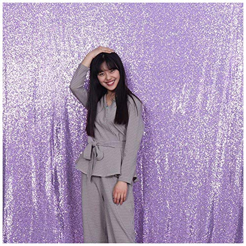 Poise3EHome 4FT x 7FT Sequin Photography Backdrop Curtain for Party Decoration, Lavender ()