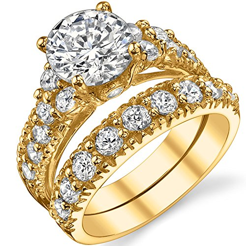 Gold Tone Over Solid Sterling Silver 925 Engagement Ring Set Bridal Rings with 2 Carat Round Cut Cubic Zirconia Center Stone 5