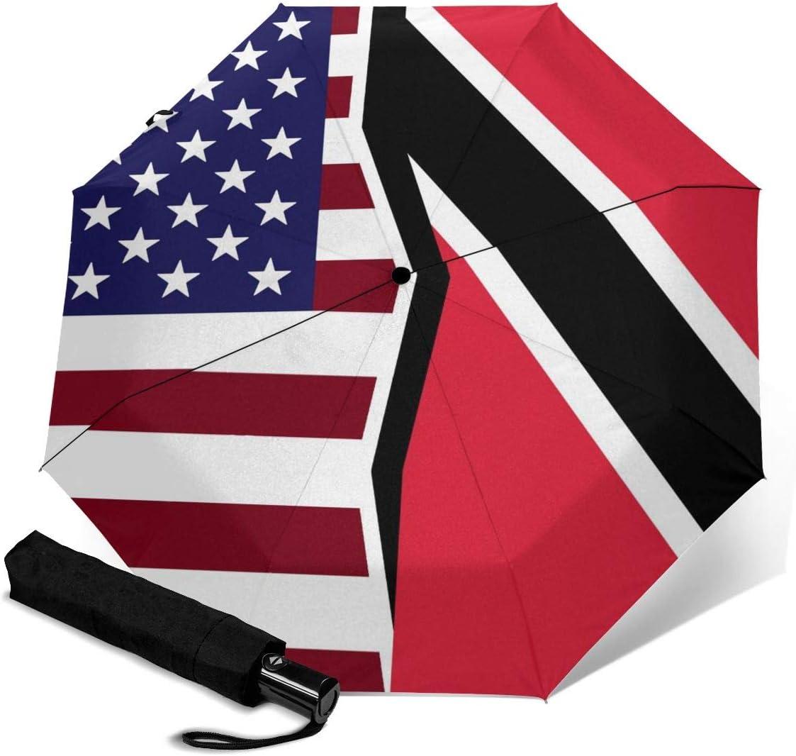 American And Trinidad Tobago Flag Automatic Folding Umbrella Super Sunscreen Rain Portable Creative UV Protection Tri-Fold Umbrella