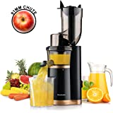 Masticating Slow Juicer Extractor by Homeleader, 3.5inch Wide Chute Juice Extractor, Cold Press Juicer Machine with Quiet Motor and Reverse Function, High Nutrient and Vitamins for Fruits and Veggies