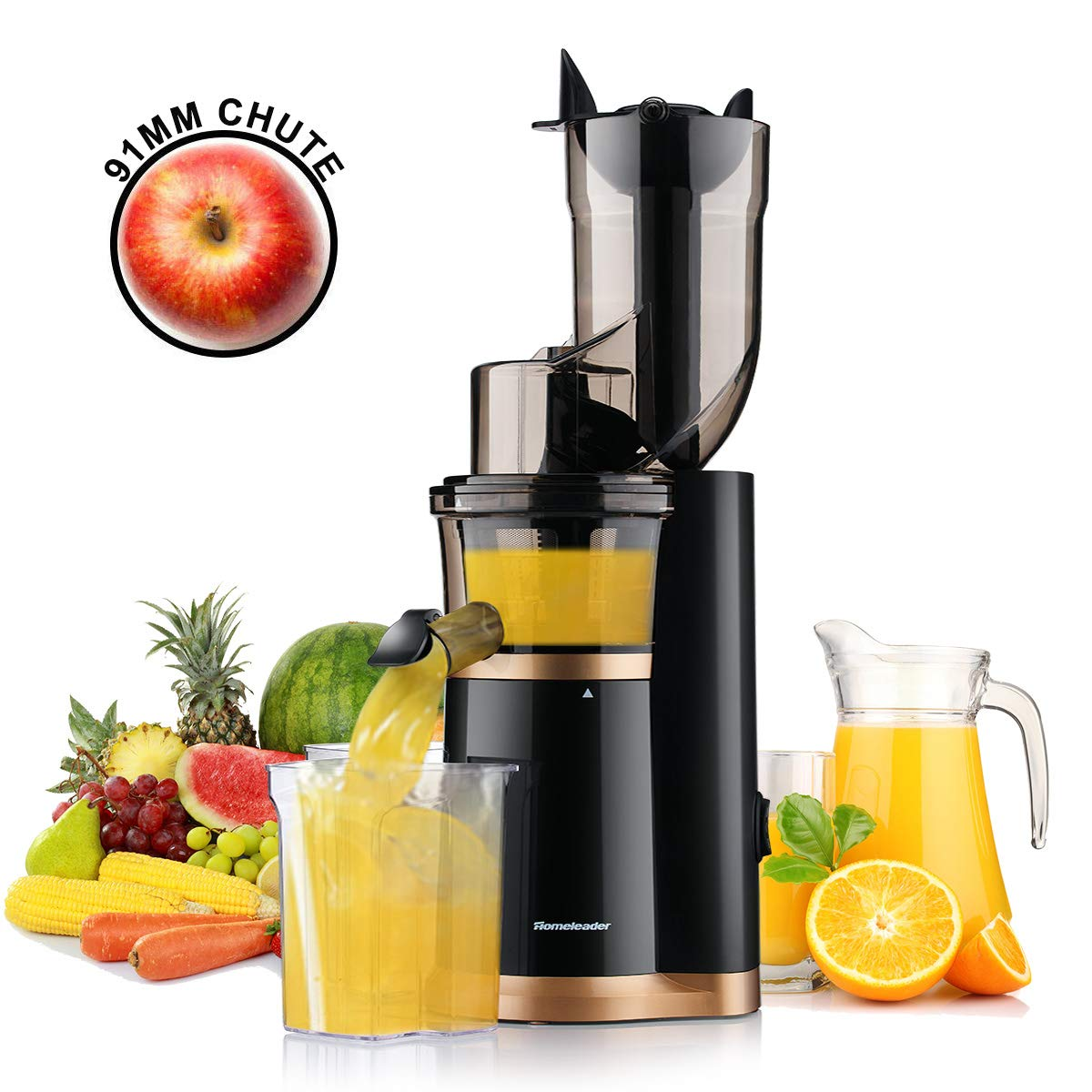 Masticating Juicer Slow Juicer, Slow Juicer Extractor by Homeleader, 91mm (3.5inch) Wide Chute Juice Extractor, Cold Press Juicer Machine with Extreme Quiet Motor and Reverse Function, High Nutrient and Vitamins for All Fruits and Veggies, K59-032