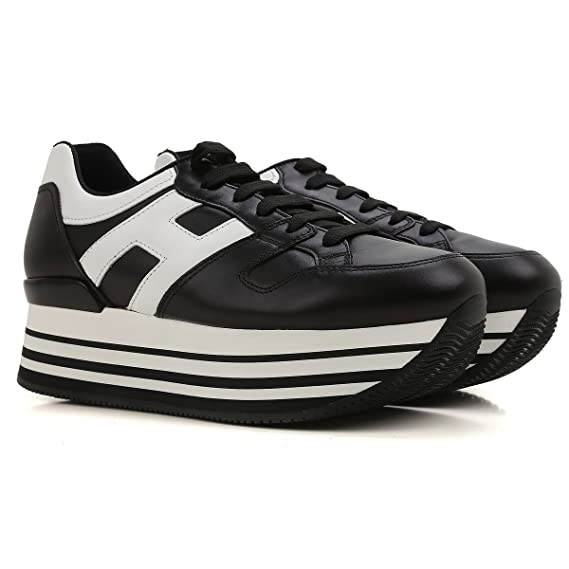 HOGAN Sneakers Maxi H222 in Pelle Mod. HXW2830T548DU00002 Nero 37½   Amazon.co.uk  Clothing 7cfc614b01a