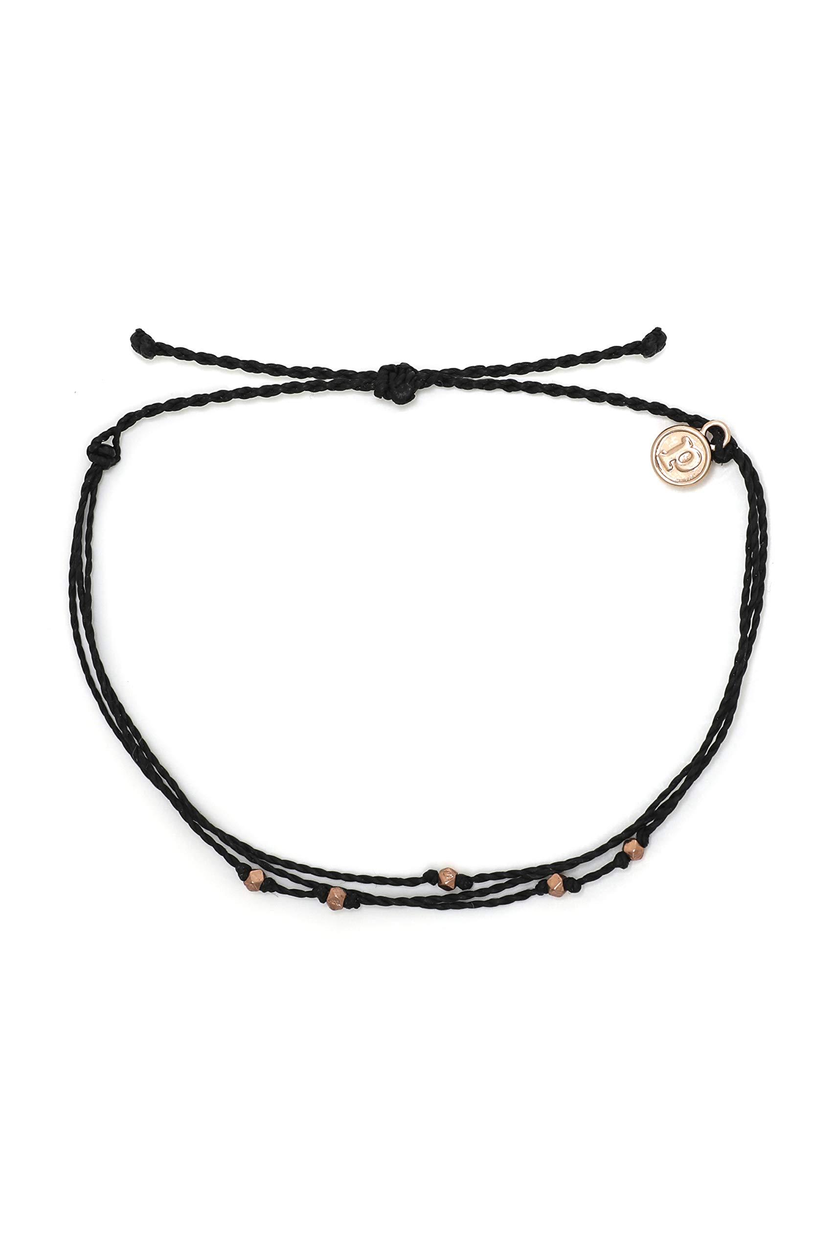 Pura Vida Rose Gold Malibu Anklet w/Plated Charm - Adjustable Band, 100% Waterproof - Black