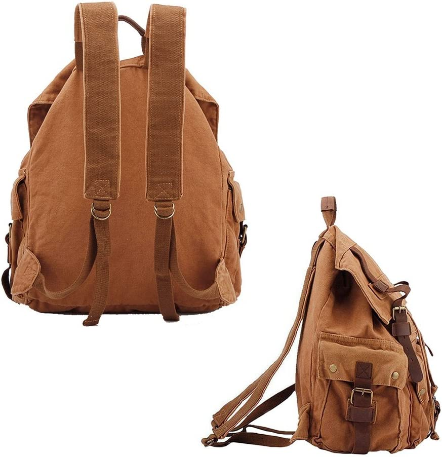 Army Green VRIKOO Retro Canvas Casual Daypacks Leather Trim Hiking Travel Backpack Unisex Shoulder Bag Schoolbags