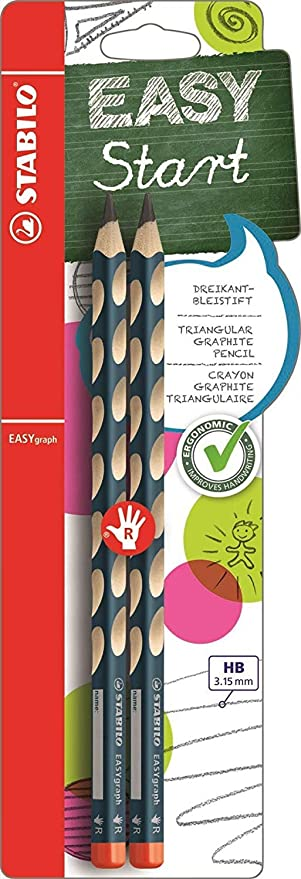 Caja con 12 unidades L/ápiz de grafito ergon/ómico STABILO EASYgraph START Modelo para ZUDOS
