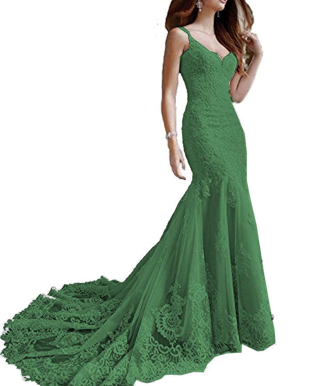 Emerald Marirobe Women's Mermaid Lace Applique Formal Dresses V Neck Backless Wedding Dresses Sleeveless Evening Dresses