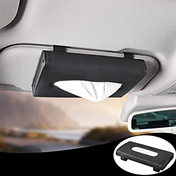 Car Visor Tissue Storage Box Napkin Holder PU Leather Backseat Paper Towel Case
