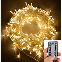 Luces de cadena de hadas LED para exteriores de echosari 100 LED Funcionan con batería con control remoto (regulable, temporizador, 8 modos) - Blanco cálido