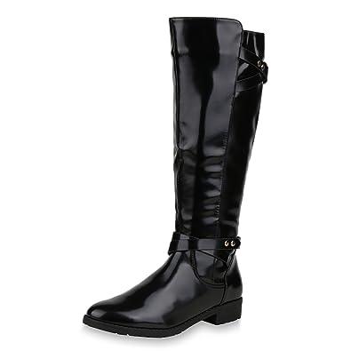 ad60ce50da9261 SCARPE VITA Damen Reiterstiefel Lack Leder-Optik Stiefel Nieten Boots Schuhe  152564 Schwarz 36