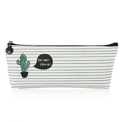 8c22ea0417a0 Pencil Bag Linen Pastoral Bandage Case Cute Cacti Pen Zipper Coin Organizer  Makeup Cosmetic Pouch Holder (Cactus-1)