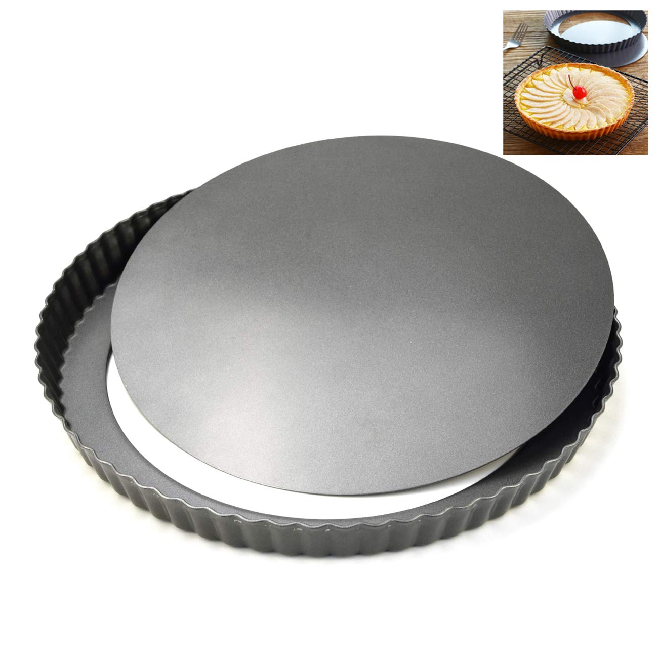 LUUFAN Non-Stick Quiche Pan Tart Pan with Loose Bottom, Round Fluted Flan Tin (8.6inch/28cm) by LUUFAN