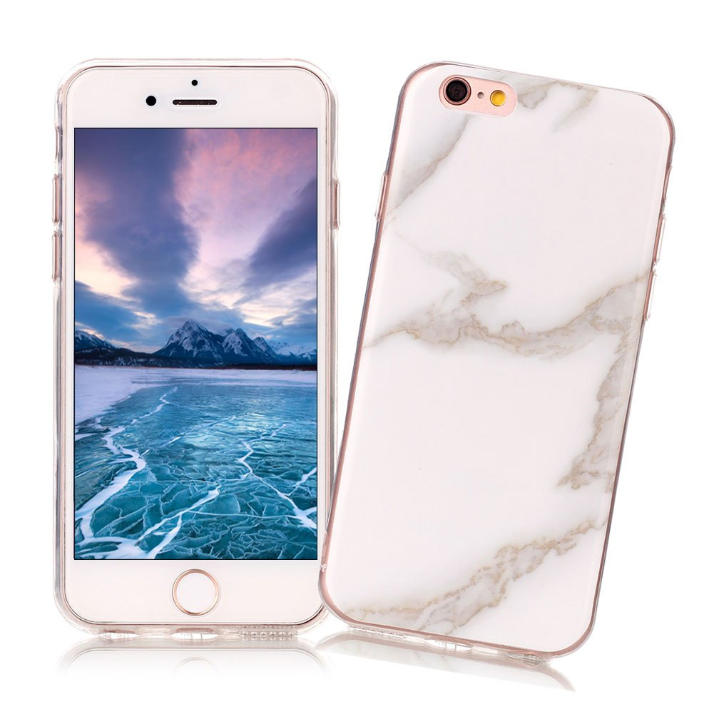 Coque iPhone 6//6S XiaoXiMi Etui en Marbre Texture Housse de Protection Soft TPU Silicone Case Cover Coque Flexible Lisse Etui Ultra Mince Poids L/éger Housse Anti Rayure Anti Choc pour iPhone 6//6S Blanc Enneig/é