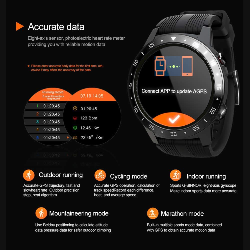 LOKMAT SMA-TK05 Smart Watch 1,3 tum skärm BT3.0 + 4.0 vattentät stegräknare-pulslarm fjärrkamera GPS Sports Smartwatch SVART