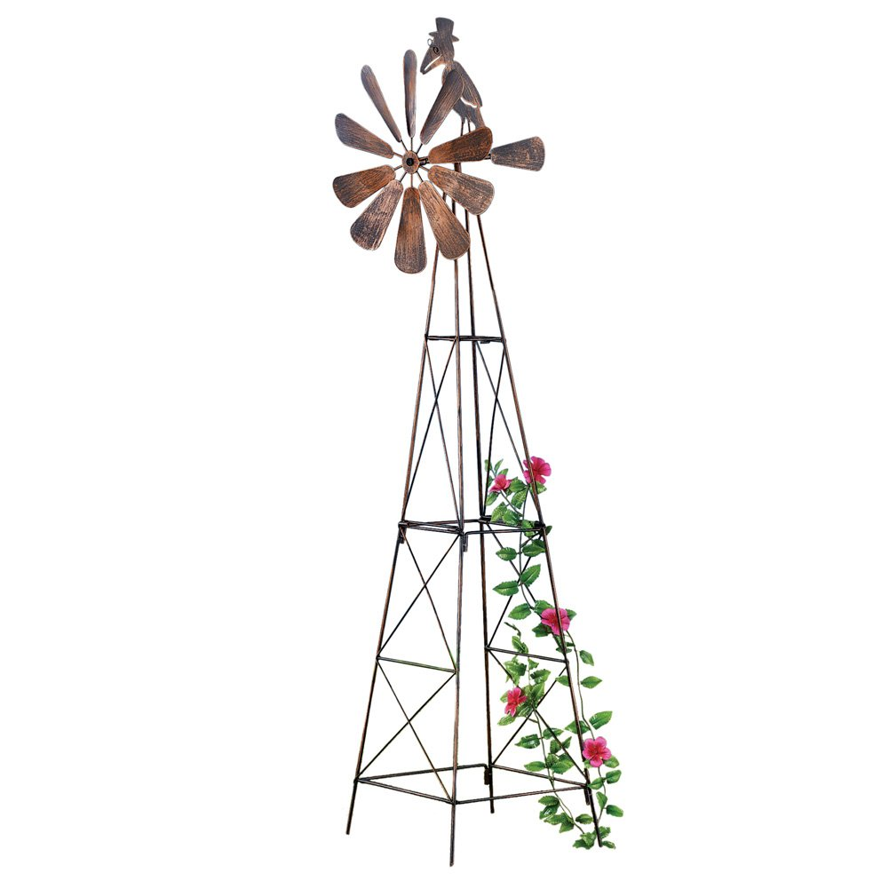 Collections Etc Windmill Metal Garden Trellis for Climbing Plants with Decorative Crow on Top, 44'' H