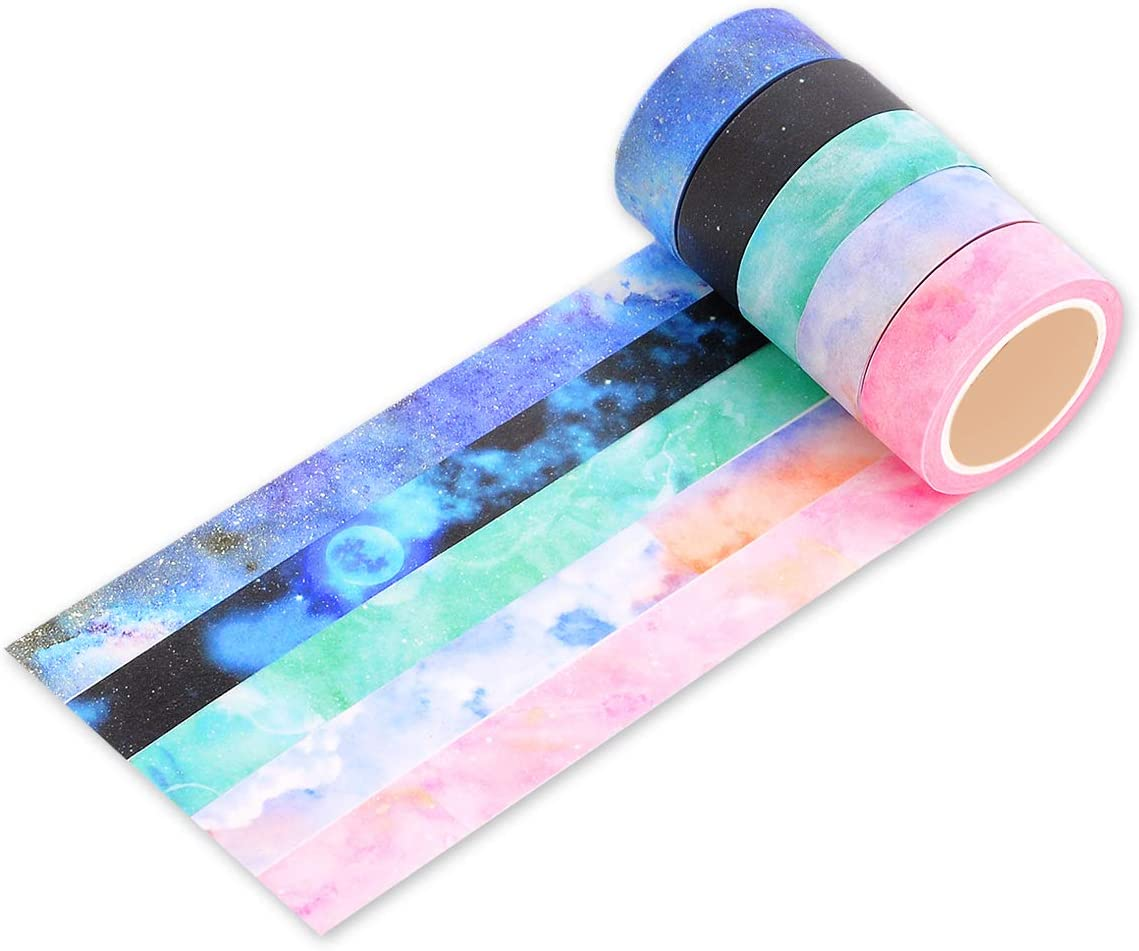 Ace Select 5 Rolls Wrapping Tape Colorful Galaxy Starry Sky Washi Tapes Set Creative Scrapbooking Craft Masking Tape for Wrapping and Arts Crafts 8M