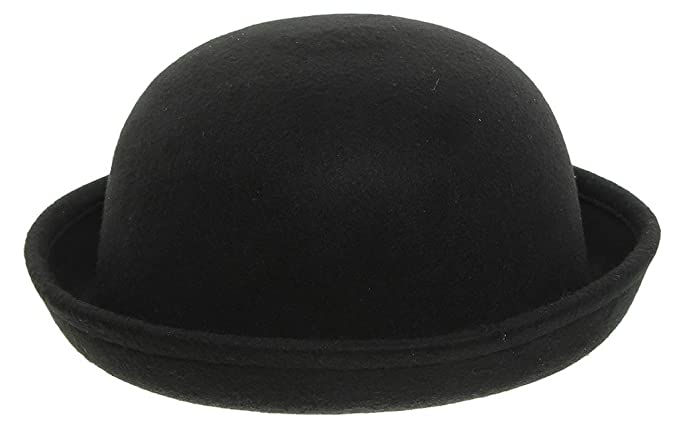 c0bfea4aa09 Eozy Girls Wool Felt Roll Brim Bowler Derby Hats Billycock Cloche 21 quot   ...