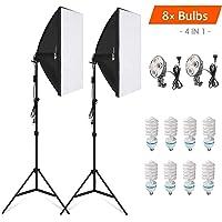 Amzdeal Softbox Kit Studio Fotografico, 2 x Softbox 50 x 70cm + 8 x Lampada 135W + 2 x Stativo Set da Fotografia Professionale