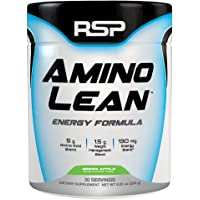 RSP AminoLean - All-in-One Pre Workout, Amino Energy, Weight Loss Supplement with EAAs, Complete Preworkout Energy & Natural Fat Burner for Men & Women, Green Apple, 30 Servings