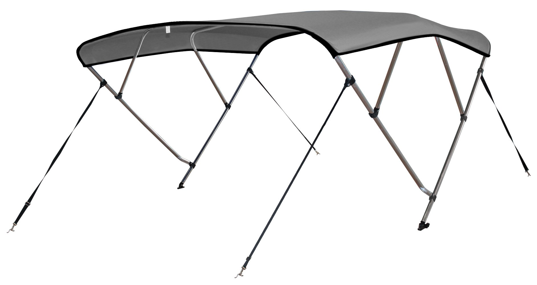 Leader Accessories 4 Bow Light Grey 8'L x 54'' H x 73''-78'' W Bimini Tops Boat Cover 4 Straps for Front and Rear Includes Hardwares with 1 Inch Aluminum Frame by Leader Accessories