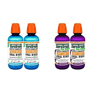 TheraBreath Gluten-Free Fresh Breath Oral Rinse, ICY Mint, 16 Ounce Bottle (Pack of 2) and TheraBreath Kids Anti-Cavity Oral Rinse, Organic Gorilla Grape Flavor, 16 Oz, Pack of 2