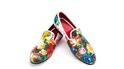 398d0bd98fa4d Amazon.com | Resso Roth Men Floral Velvet Slippers Slip On Loafers ...