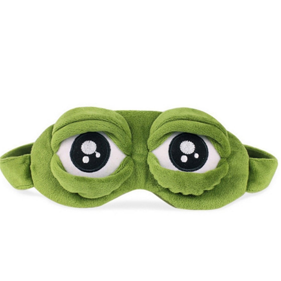 Fanned Creative Cartoon Frog Eye Mask Fluff Cute Sleep Eyeshade-Green Cartoon Sad Frog 3D Eye Mask Cover Sleeping Rest Travel Anime Funny Gift
