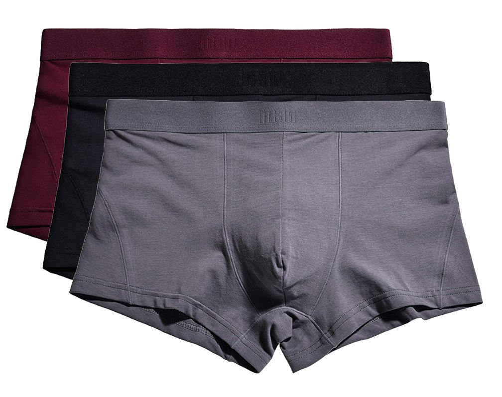 YVWTUC Mens Flexible Boxer Briefs Tag-Free Cotton Underwear 3-Pack by YVWTUC (Image #1)