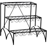 Popamazing 3-Tier Metal Flower/Plant Stand w/Step Design Shelving System Rack Pot Display Indoor Outdoor, 58.5 x 60 x 58 cm, Black (Ideal Xmas Gift)