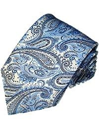 Italian 100% Silk Tie Blue Silver Paisley Jacquard Necktie - 36006
