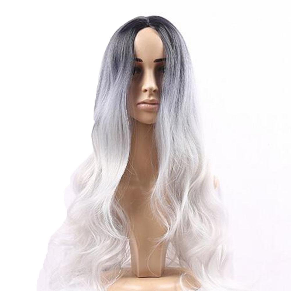 XUAN Long Wavy Ombre Black Rooted Silver Gray Gradient Wig Wave Synthetic Wigsmatte High Temperature Silk Women