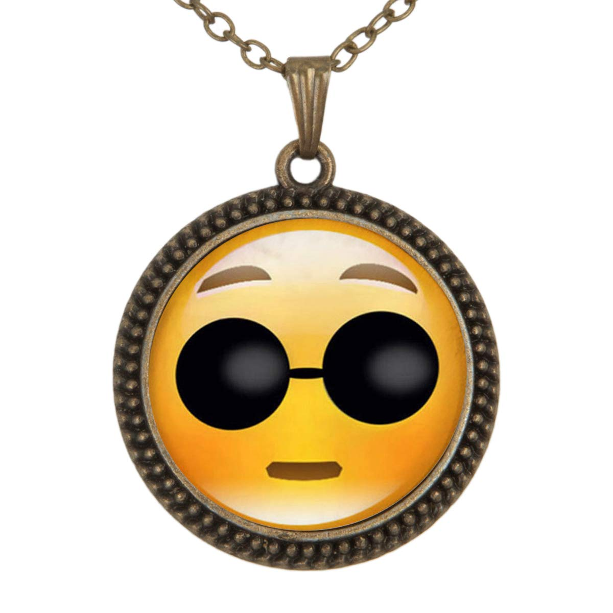 Family Decor Emoji Face Can Not See Pendant Necklace Cabochon Glass Vintage Bronze Chain Necklace Jewelry Handmade
