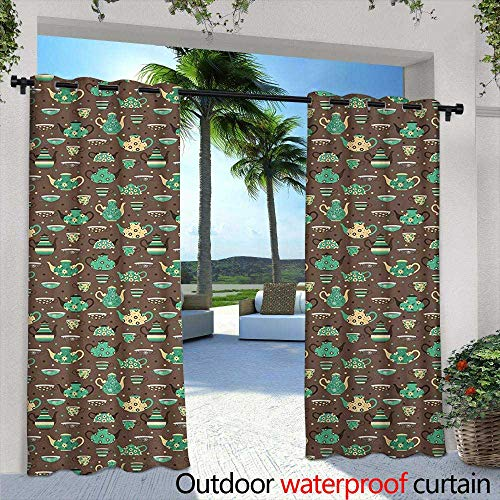 Tim1Beve Outdoor Curtains Tea Party Cups and Pots with Different Floral Motifs on Dotted Brown Background Waterproof Patio Door Panel 84