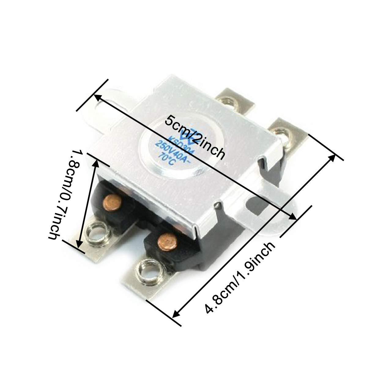 COMOK 250VAC 40A 70/°C Normal Close Temperature Control Thermostat KSD304 2PCS