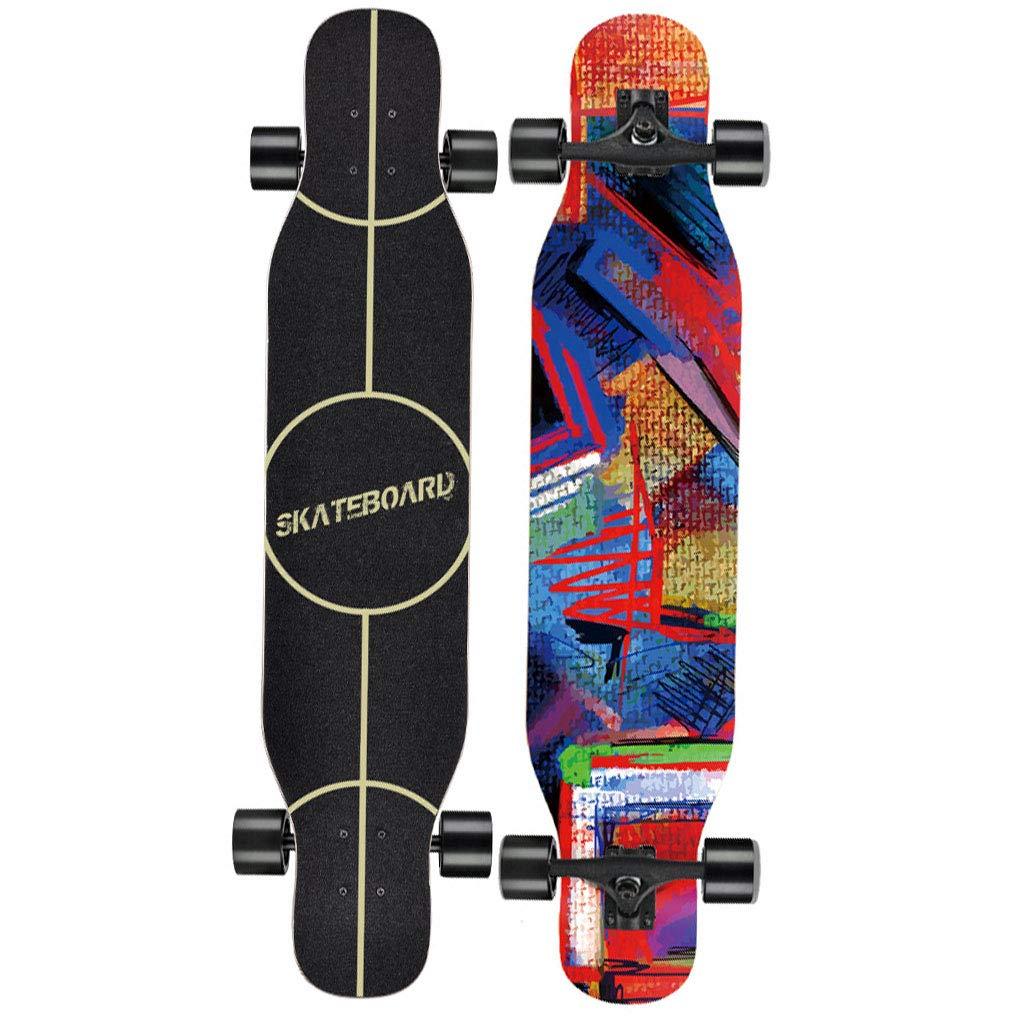 スケートボード ロングボードスケートボード47.2インチX 9.8インチワイドデッキメープルダンスロングボード大人、ティーン、子供向けに完全に組み立てられたデザイン スポーツ