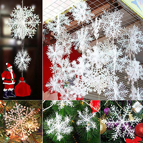 PAPY, 90Pcs 11cm White Snowflakes Christmas Tree Decorations Party Charms Ornaments ()