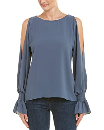 a051a75c79258 Vince Camuto Womens Flare Cuff Cold Shoulder Boat Neck Blouse China Blue XS  One Size