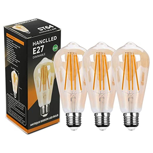 Bombilla LED E27 6W Regulable, HANCLLED E27 ST64 Vintage Edison Decorativas Lampara Retro Bombilla Filamento