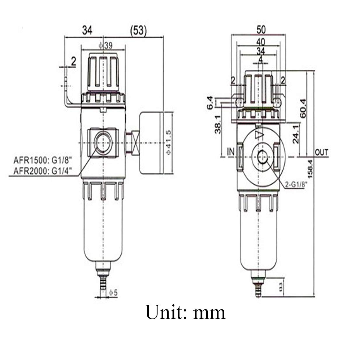 Mengger Filtro Regulador Aire Presión Comprimido Compresor Separador Neumático Agua Lubricador Reductor Presión Para Calibrador con Manómetro Herramientas ...