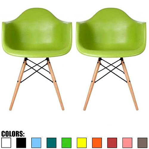 2xhome Set of 2 Green Mid Century Modern Plastic Dining Chair Molded Arms Armchairs Natural Wood Legs Desk No Wheels Accent Chair Vintage Designer