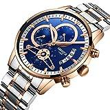 nibosi Watches,Mens Luxury Business Dress Watch Stainless Steel Sport Waterproof Wristwatch Gold