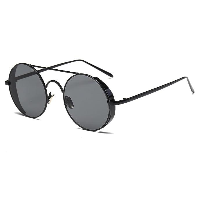 Hot Cool Gothic Steam Punk Mens Sunglasses Vintage Metal Men Coating Mirror Sunglasses Women Round Sun Glasses Retro UV400 Shades iC0jJr