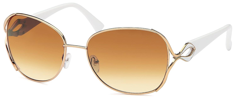 Elegante Sonnenbrille mit Schmuckscharnier, gold mit braunen oder smoke Gläsern in 3 Farben, sortiert (silber-schwarz/grau verlaufend)