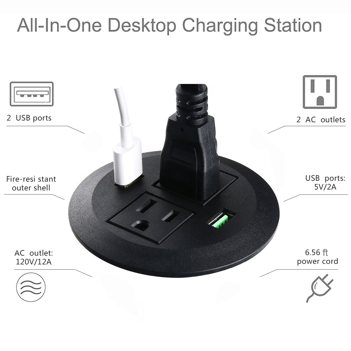 Conference Recessed Power Strip Socket,Recessed Desktop Power with 9.8ft Cord,3 Power Outlet and 2 USB Ports Jgstkcity